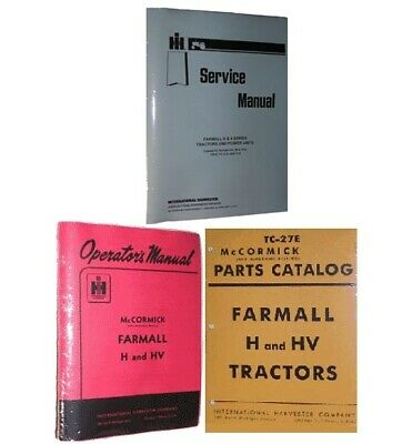 Ih Farmall H Hv Owner Service Parts Catalog Book Manual