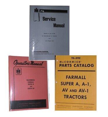Ih Farmall Super A Av Owners Service Parts Book Manuals