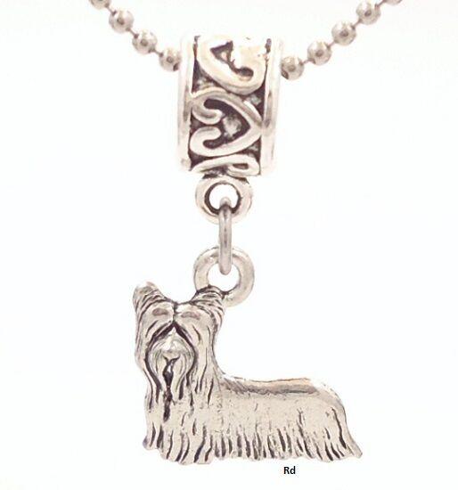 Skye Terrier Dog Breed Charm on Heart Print Slider for Bracelet OR Necklace