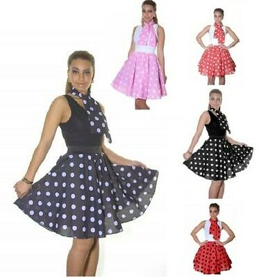 Polka Dot RockNRoll 50's Style Grease Poodle MINI Skirt&Scarf--Length 18
