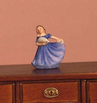 Ornamental Lady Blue Dolls House Ornament, Dancing Girl in Dress Miniature