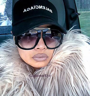 Oversized THICK XXL Round Aviator Extra BIG HUGE Flat Women GeGe Sunglasses (Huge Aviator Sunglasses)