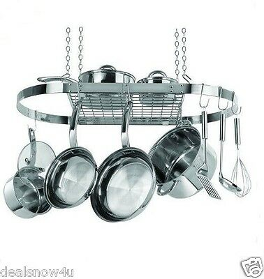 Oval Hanging Pot and Pan Rack Organizer Stainless Steel Storage For Cookware