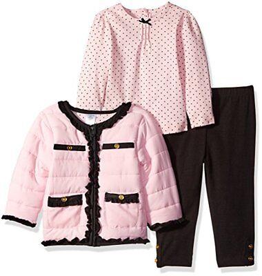 Little Me Baby Girls Pink Multi 3 Pcs Tee Legging Jacket Set