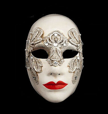 Mask from Venice Volto Macrame Silver Female Authentic Venetian 217