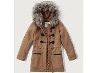 Abercrombie & Fitch Fur Hood Wool Duffle Coat Camel Size LARGE