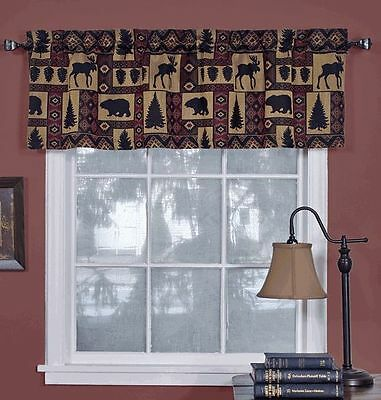 Cabin Pine Retreat Lodge Tapestry Window Valance, Modern Rustic 54