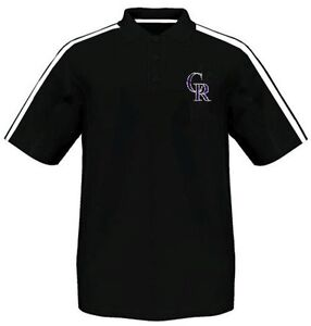 Colorado Rockies Majestic Synthetic Arm Polo Shirt Black