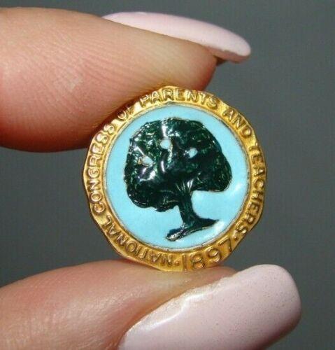 Vintage 10k Gold Enamel 1897 National Congress of Parents & Teachers Lapel Pin