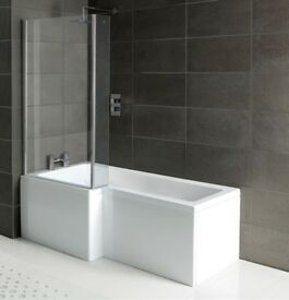 L & P Shape Shower Bath Pack With Glass Screen & Bath Panel 1700mm x 700mm