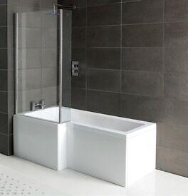 L & P Shape Shower Bath Packs With Glass Screen & Bath Panel 1700mm x 700mm