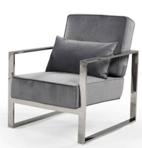 Compact grey velvet and chrome living room chair