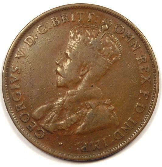 1925-m Australia George V Penny (1D Coin) - Sharp Detail - $200 Value in VF