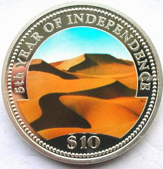 Namibia 1995 Desert 10 Dollars Silver Coin,Proof