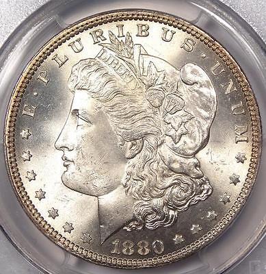 1880 MORGAN SILVER DOLLAR $1   PCGS UNC DETAILS   GEM BU LOOK   NICE COIN