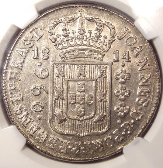 1814-B Brazil 960 Reis (960R) - NGC MS62 - Rare BU UNC Certified Coin