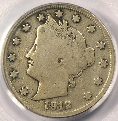 1912-S LIBERTY NICKEL 5C - PCGS F12 FINE -  KEY DATE - CERTIFIED COIN!