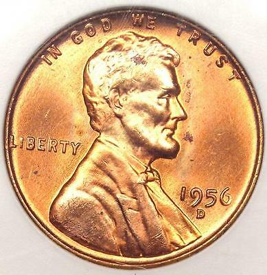 1956-D LINCOLN WHEAT CENT 1C - ANACS MS67 RD -  IN MS67 - $750 GUIDE VALUE
