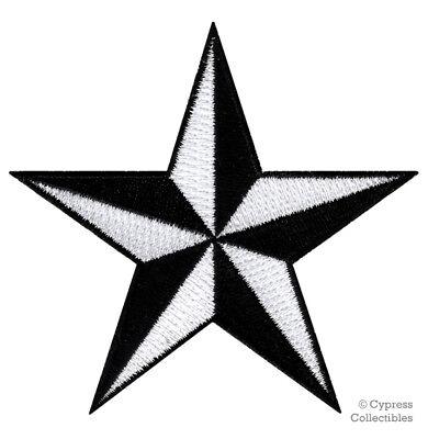 Tattoo Nautical Stars (NAUTICAL STAR PATCH iron-on embroidered BLACK WHITE NAVY SAILOR TATTOO SYMBOL )