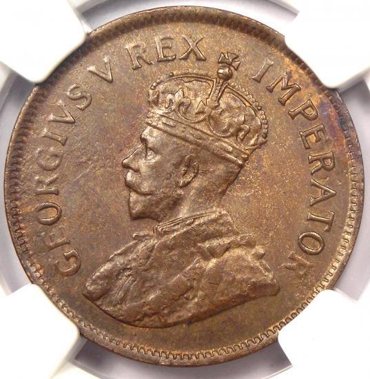 1928 South Africa George V Half Penny (1/2P) - NGC MS62 - Rare UNC BU Coin!