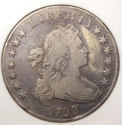 1799 DRAPED BUST SILVER DOLLAR $1   ANACS VF DETAILS / NET VG10    COIN