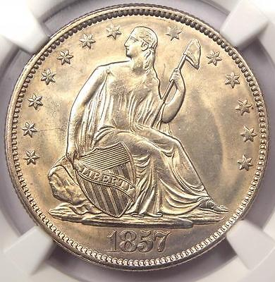 1857 SEATED LIBERTY HALF DOLLAR 50C - NGC UNCIRCULATED MS BU UNC -  LUSTER