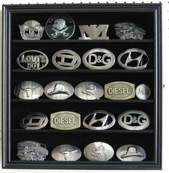 "Small 3"" Belt Buckle Display Case Wall Shadow Box Cabinet, Glass Door, BCLC01"