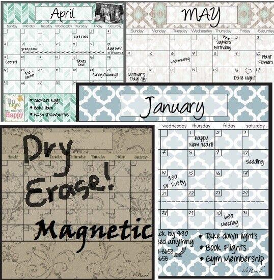 Dry Erase Magnetic Calendar ALA BOARD Stylish for Home Fridg