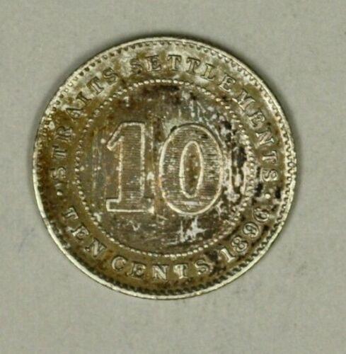 Straits Settlements Silver 10 Cents 1896 Toned AU  Victoria A904