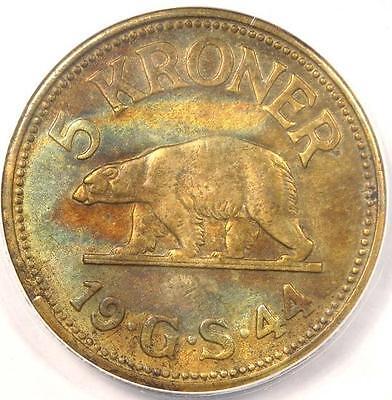 1944 Greenland 5 Kroner (5K) - ANACS AU50 Details - Rare Polar Bear Coin