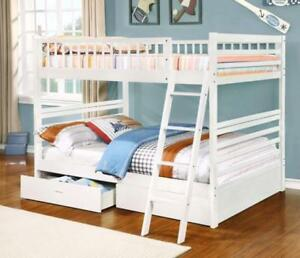 Free shipping in Montreal! Full over Full Bunk Bed with Storage Drawers! Brand New!