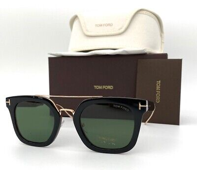 Tom Ford Alex-02 TF0541 05N Shiny Black / Green 51mm (Tom Ford Square Sunglasses)