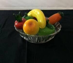 Fancy Glass Bowl with Glass Fruit