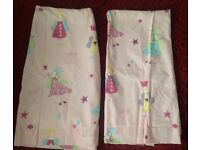 Curtains Pink Princess Lined & Tie Backs vgc