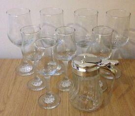 8-x-glass-wine-glass-set-sherry-sugar pourer