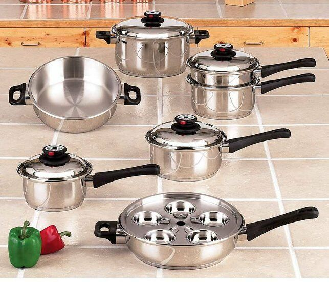 9-element Stainless Steel 17pc Cookware Set Waterless Pots Pans Kitchen Cooking