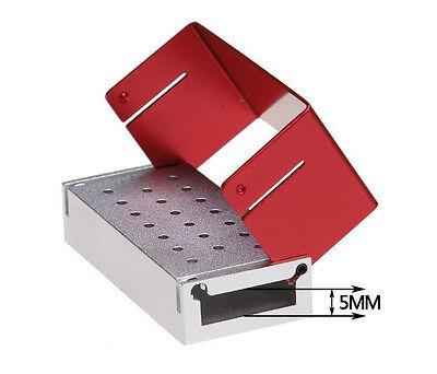 Dental 1.6mm Bur Holder Block Aluminium Autoclave Box 20 Holes - Red U.s.a