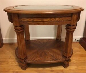 Oval Coffee Table Beveled Glass Top