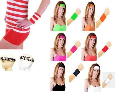 Ladies Head Band And Towelling Wrist Band Set Yoga Dance Tennis Sweatband - 80's Tennis Kostüm