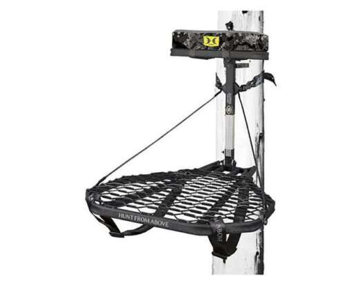 Hawk COMBAT Durable Steel Hang-On Hunting Tree Stand & Full-Body Safety Harness