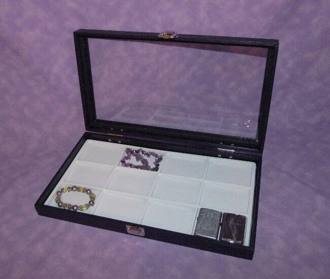 12 SLOT MULTI PURPOSE GLASS TOP JEWELRY DISPLAY CASE WHITE