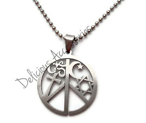 COEXIST Pendant Necklace Star of David Cross Ohm Islamic Moon Peace Sign Symbol
