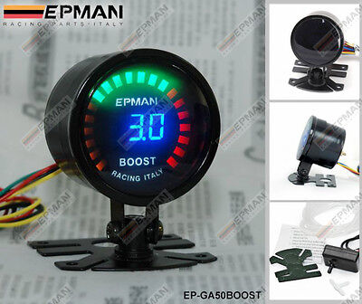 "EPMAN RACING 52mm 2"" DIGITAL ANALOG LED TURBO BOOST GAUGE METER WITH SENSOR"