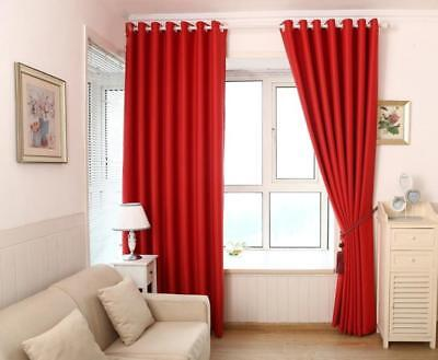 2Pcs Room Darkening Thermal Insulated Blackout Curtains Wind