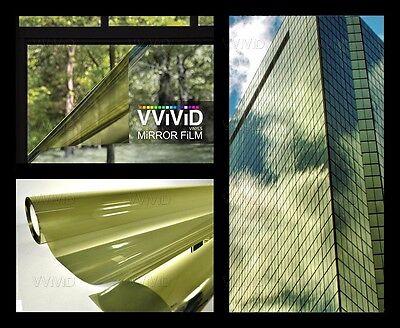 One way mirror vision reflective Gold window film 100ft x 5ft privacy Vvivid DIY