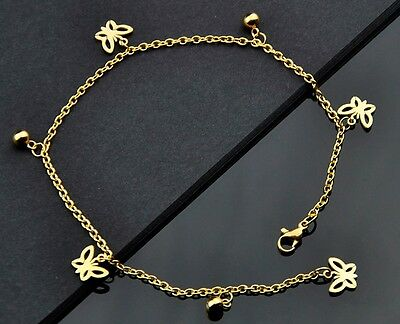 Fashion Butterfly Pendants gold plate Stainless Steel Anklet