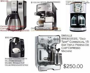 various oster, breville, braun, tassimo coffee maker sale, view all pics inside.