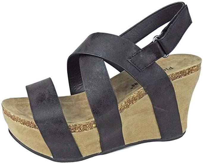Pierre Dumas Womens Wedge Sandals Black High Platform Heels