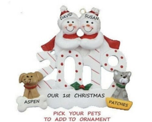 Personalized 2019 Snowman Couple with 2 Dogs or Cats Christmas Ornament