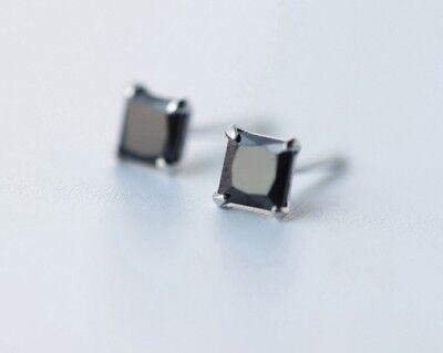 Women Men 5mm Sterling Silver Black Onyx Cubic Zirconia Square Stud Earrings K61